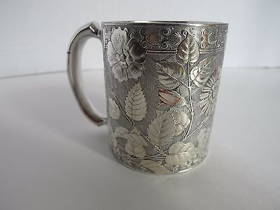 RARE ANTIQUE 1860 MERIDEN B.COMPANY SILVER PLATE HAND CHASED CUP.ART DECO STYLE.