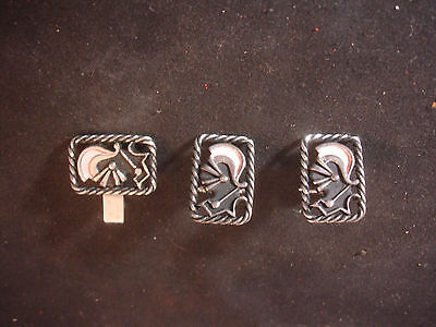 Old Vtg Knight Armor Rope Design Men's Cuff Links And Tie Bar Jewelry   (Old Knight Armor)