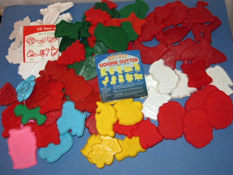 Lot of 91 Plastic Handle Cookie Cutter Holiday Christmas 12 Days Easter Animals