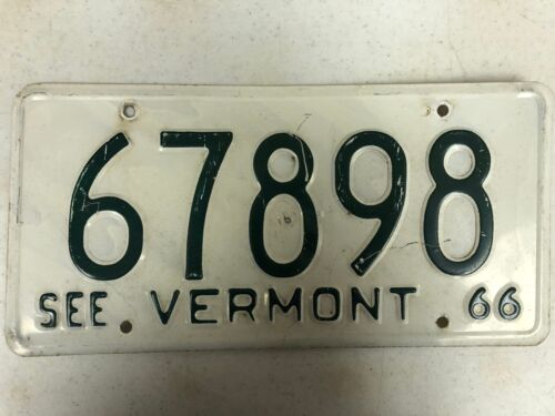 1966 See VERMONT License Plate 67898