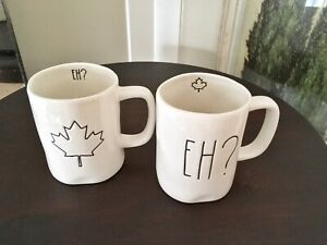 "Rae Dunn Coveted EH? and MAPLE LEAF"" SET OF 2 MUGS**"