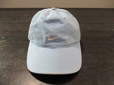 VINTAGE Nike Hat Cap Light Blue White Swoosh Strap Back Adjustable Mens 90s*