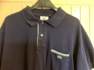 Mens Lacoste Polo Shirt Blue Size 5 Excellent Condition
