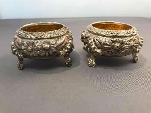 Pair of 2 Open Salt Dishes in Stieff Rose by Kirk Stieff, Sterling (Hand chased)