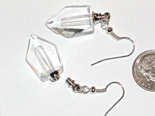 1 Set Pair Fill your own Pendant Vial miniature clear Fang Sword Bottle earrings