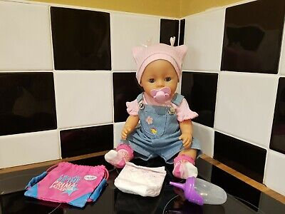 Zapf Creations Baby Born Doll - Doll In Dungarees, Bottle, Backpack etc. for sale  Shipping to Ireland