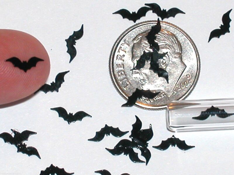 20pc. Super tiny Magical Halloween Black Bats Wings Miniature for glass bottle