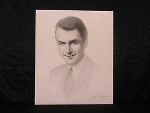 Jimmy Stewart Actor Gary Saderup Black White Lithograph Its A Wonderful Life