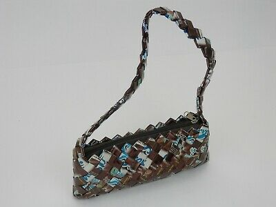 Mexican Candy Wrapper Purse Handbag Chocolate Brown Blue w/ - Blue Wrapper Chocolate