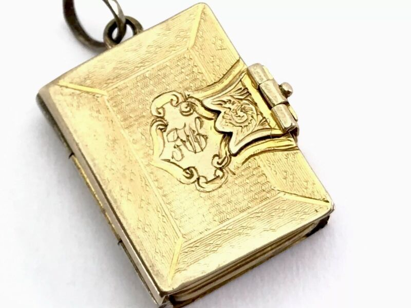 Antique Victorian Gold Tone Monogrammed AW Book Double Photo Locket Pendant