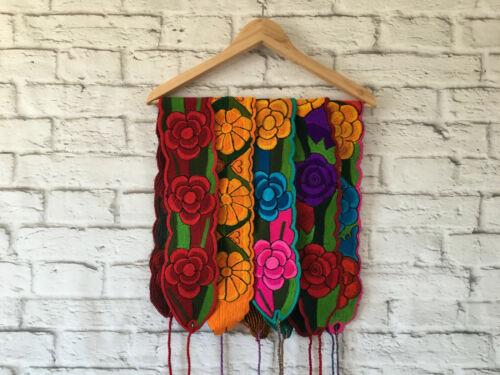 Handmade Womens Floral Embroidered Wrap Belt - Faja Bordada Mexicana - One Size