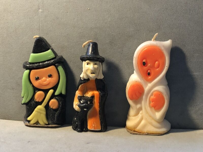 THREE Vintage W&F MFG HALLOWEEN wax GURLEY CANDLEs Witch Ghost