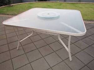 Outdoor cream aluminium glass table for sale Flagstaff Hill Morphett Vale Area Preview