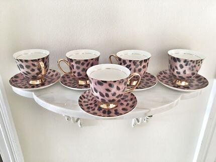 LyndalT Fine teacup set in Cougar print (new)