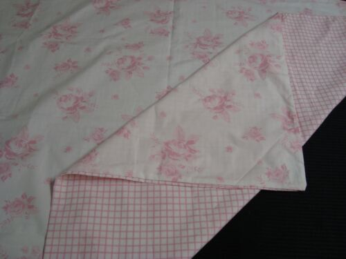 """NWT POTTERY BARN Baby Crib Duvet Cover Pink Roses Check 36"""" x 49"""" Shabby cottage"""
