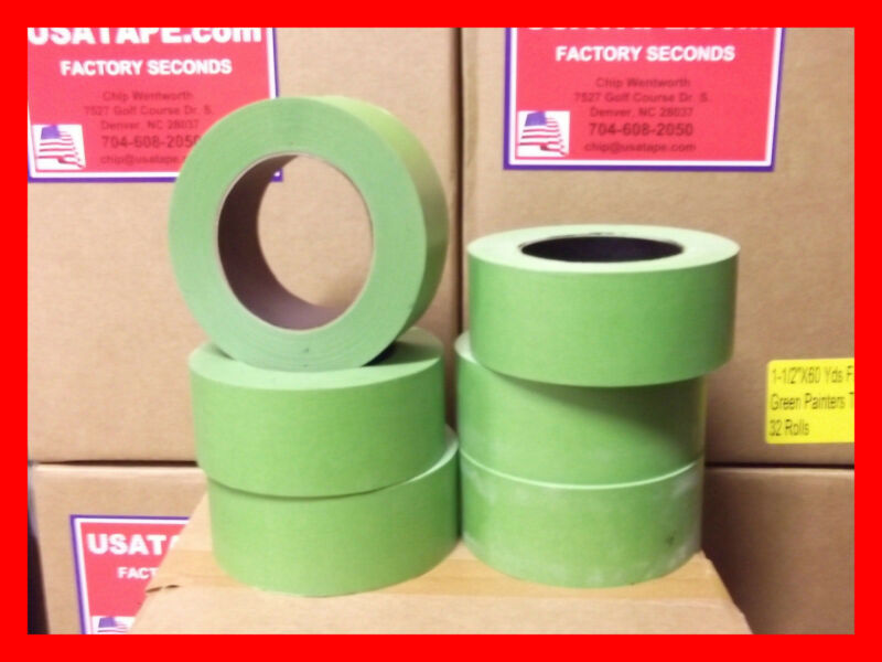 """Lot Of 24 Rolls 2""""X60 YRDS Green Painters Masking Tape QUICK SHIP USA Made BLEMS"""