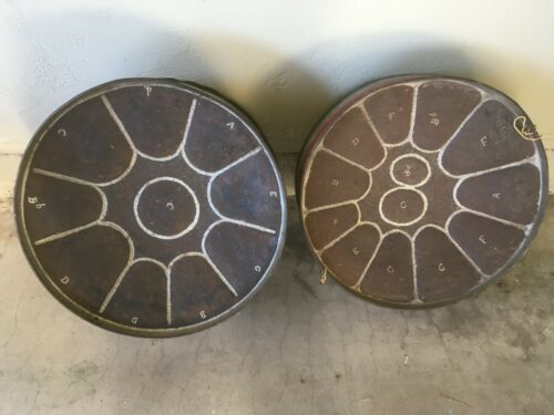 2 VNTG 1955 TRINIDAD STEEL CALYPSO OIL BARREL DRUMS, HAND MADE AUTHENTIC, ISLAND