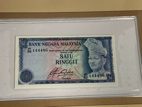 UNDATED ONE RINGGIT MALAYSIA BANK NOTE SERIAL NUMBER P/66 144486 UNC (MR)