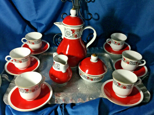 Rare Freiberger Porzellan China GDR red Gold trim demitasse Coffee tea Set