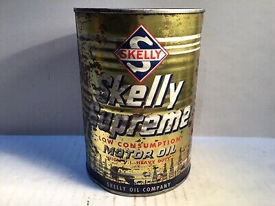 Vintage Skelly Oil Can Quart Metal Gas Rare Handy Sign Tin Cities Texaco Shell 4