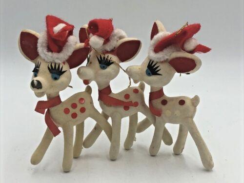Lot of 3 Vintage Japan White Felt Reindeer Red Spots Ornaments MCM Cute