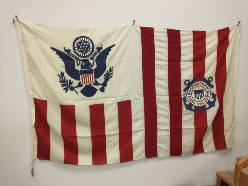 Vintage US Coast Guard Flag Ensign Naval American Wool 13 star All Sewn RARE!!