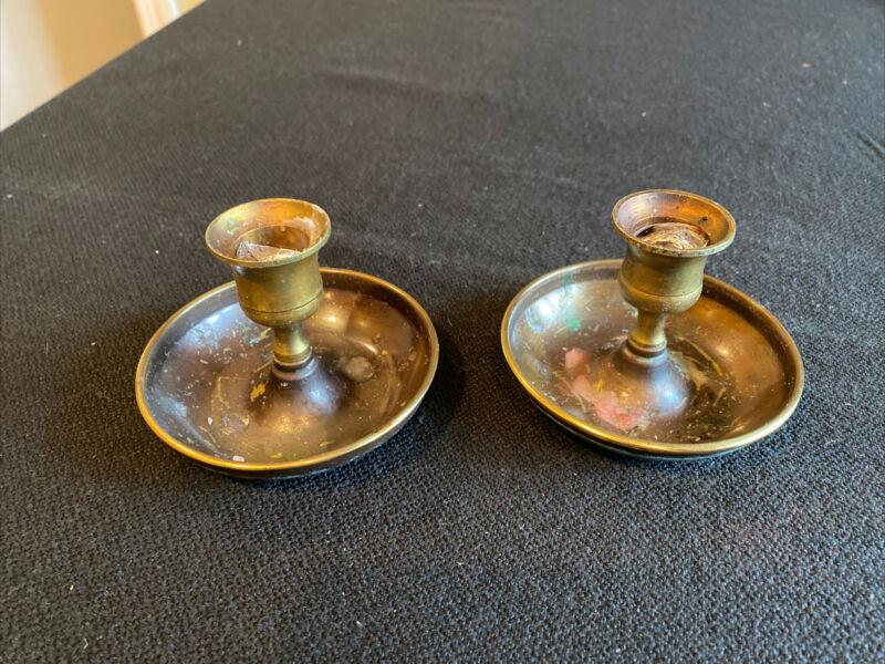 Traveling Collapsable Brass Israeli Shabbat Candle Holders