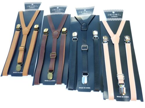"""New Punk Skinny Faux Leather Vintage Suspenders Super Narrow 1/2 """""""