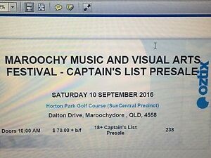 Maroochy Music & Visual Arts Festival - 1 Ticket Upper Mount Gravatt Brisbane South East Preview