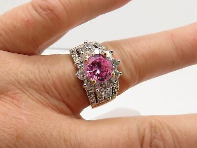18K GERSC Covenant Pink Clear CZ Pave Split Band Halo Cocktail Cluster Ring 8.25 - Halo Covenant Costumes