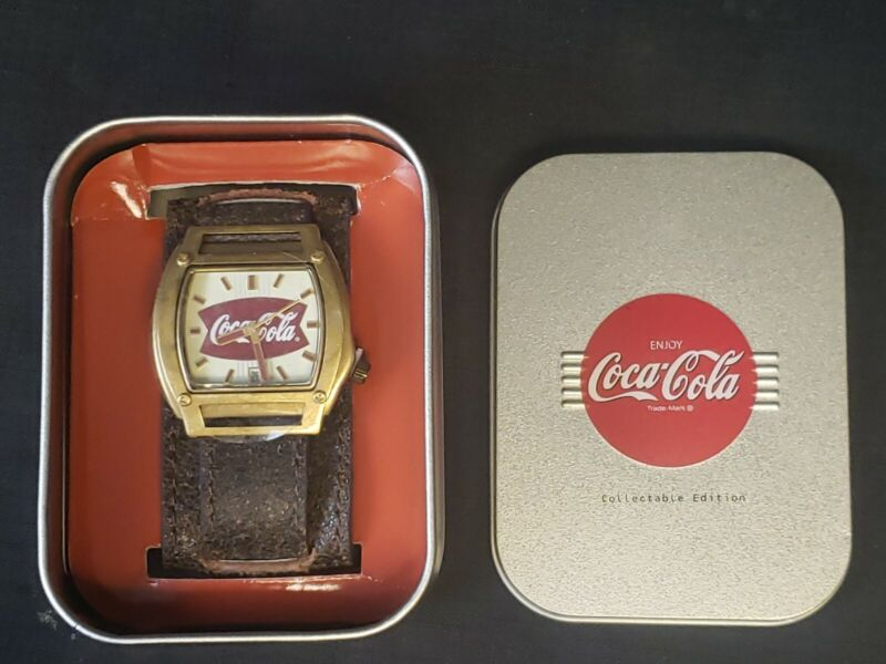 Vintage Style Coca Cola Quartz Date Watch MZ Berger NIB Brown Leather Cuff Band
