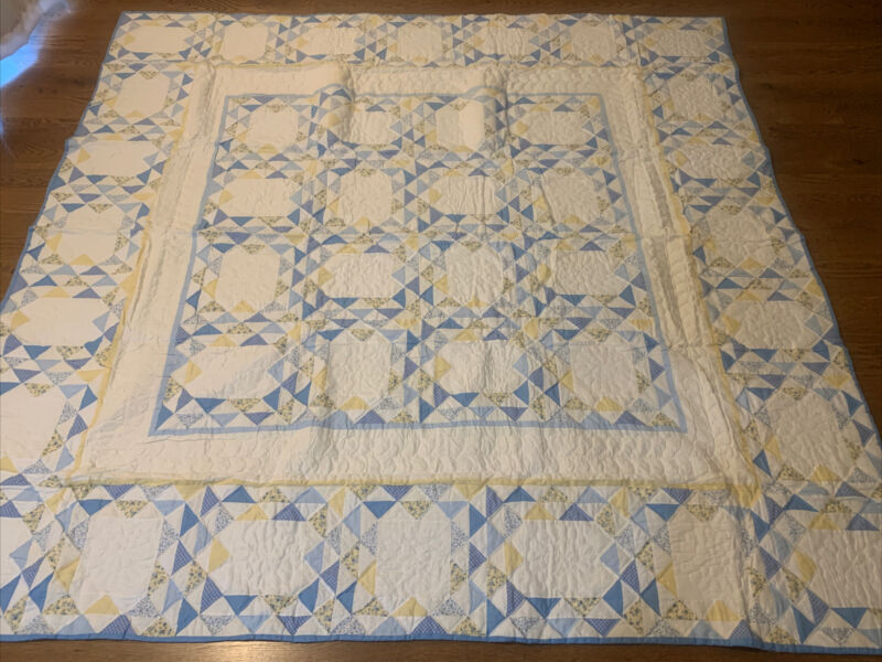 ARCH QUILT (86x86) Geometric Patchwork Vintage Blanket Large Square Yellow Blue