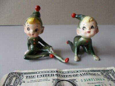 2 VTG PIXIE ELF WHIMSICAL FIGURINES SITTING & ON ALL FOURS GREEN RED MADE JAPAN