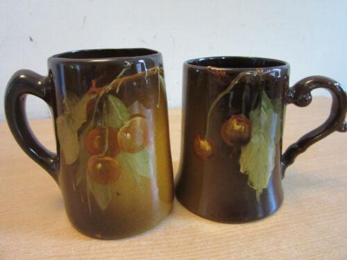 2 Antique ceramic hand painted Cherry tankard Mugs JB Owens Utopian?