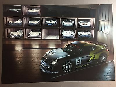 2016 Porsche Cayman GT4 Clubsport Coupe Showroom Advertising Sales Poster RARE!!