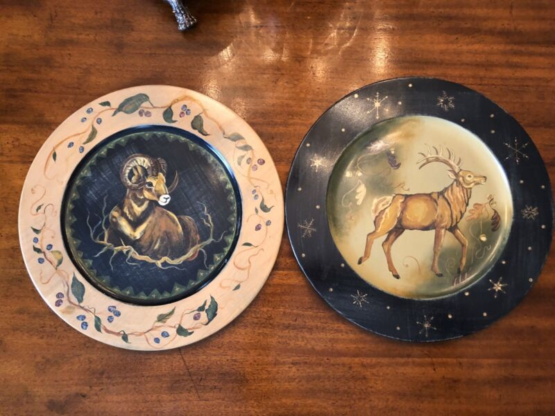 """TRACY PORTER / STONEHOUSE FARM GOODS/  Hand Painted 16"""" Wooden charger plates"""