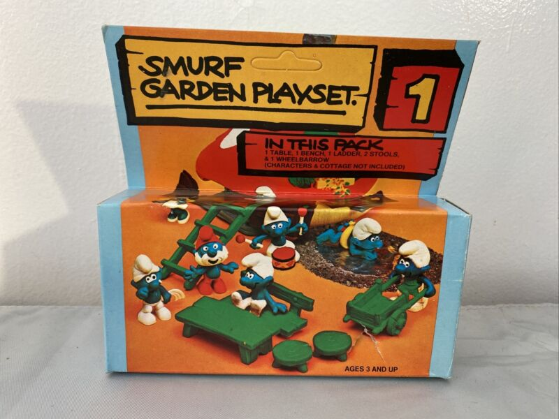 Vintage Smurfs No. 1 Garden Play Set Mint in Opened Box