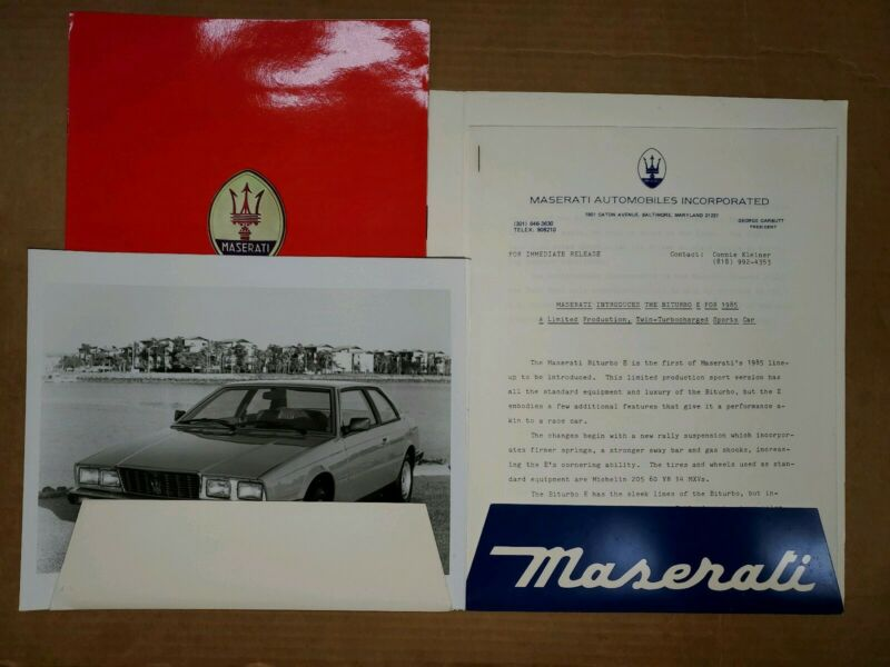 1985 Maserati Biturbo E press kit brochure