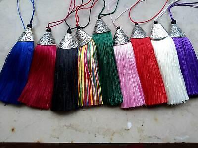Metall Kappe (Anhänger Quaste Tassel Quasten 8 cm Metallkappe Farbauswahl hmd #g21)