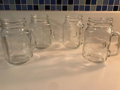 Glass Mason Jars With Handles (6 Antique Vintage Glass Mason Jar With Handle And  Inscription: Established)