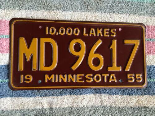 1955 Minnesota License Plate MD 9617