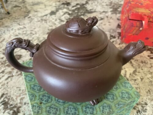 Authentic Vintage Chinese Unglazed Yixing Clay Pottery Tea Pot