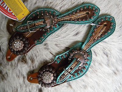 Pair Of Tooled Leather Western TEAL Metallic Youth or Ladies Spur Straps