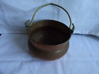VINTAGE COPPER CAULDRON STYLE COOKING POT/PLANTER SWING HANDLE HEIGHT 3.5