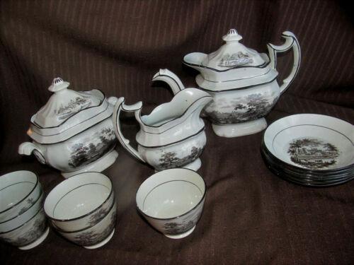 1800s England Antique TEA SET Black Transfer~Teapot Handleless Cups 15pc