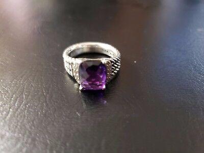 David Yurman Silver 925 Amethyst Diamonds Wheaton On Point Ring 10 x 8 6.25