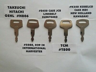 5 Heavy Equipment Keys Takeuchi Linkbelt Case Hitachi Tcm Ih Nh Kawasaki Mdi