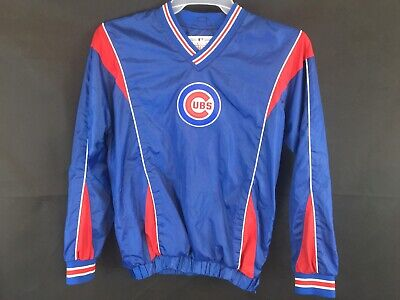 Chicago Cubs Pullover Windbreaker Size L Large Blue Red V neck Long sleeve GIII ()