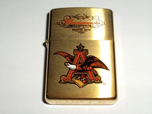 Zippo Bud Budweiser Eagle AB Millennium Brushed Brass XVI 2000 Lighter