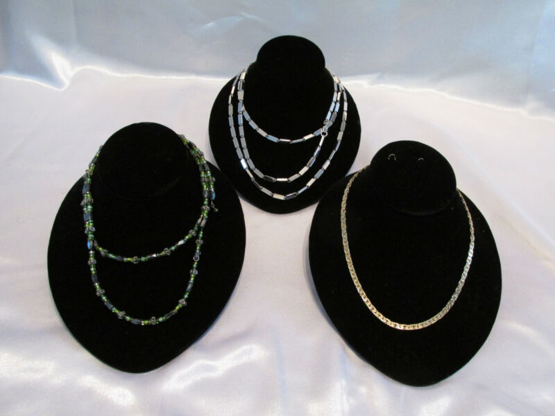 3 NECKLACE DISPLAYS VELVET LINED WITH ELEVATED REAR JEWELRY DISPLAY